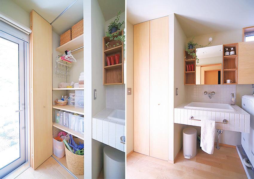 洗濯物をかけられる洗面室