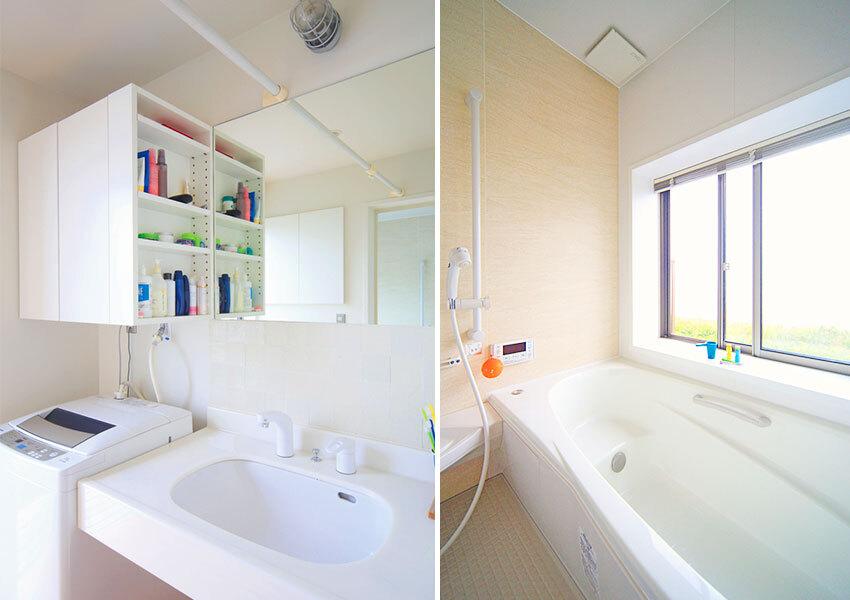 照明にはマリンランプを使った洗面室と、窓からの絶景が魅力の浴室