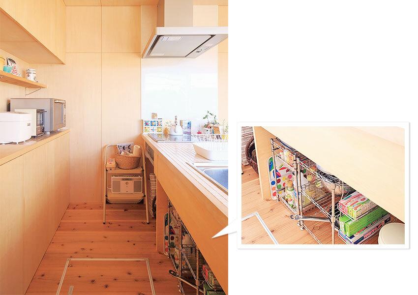 床下収納が設けられたキッチン