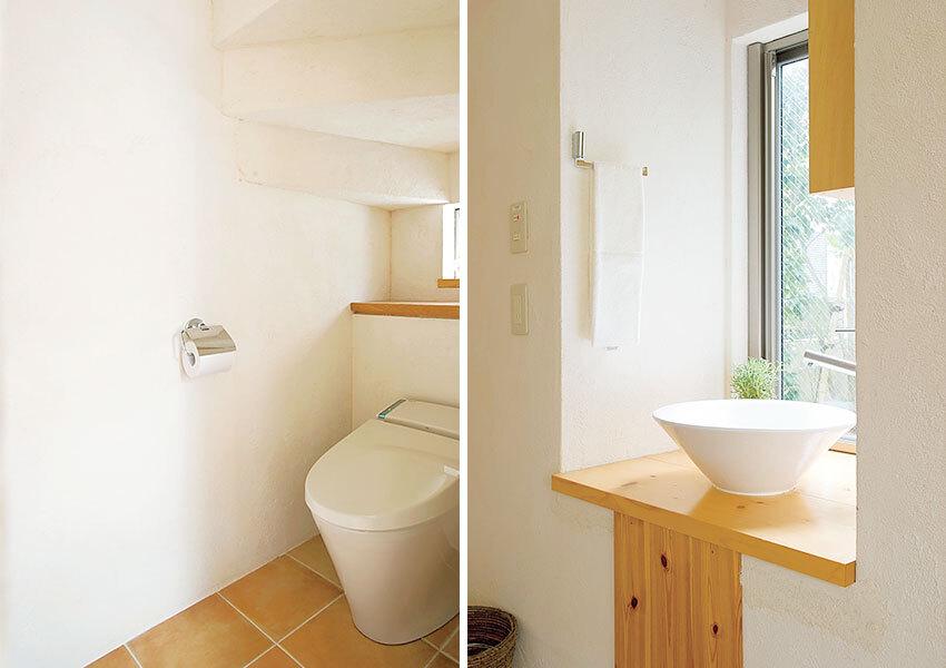 清潔感のある手洗いスペース&トイレ