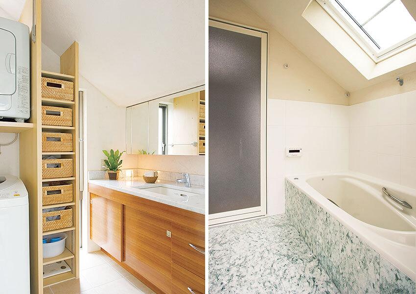 ラグジュアリーな雰囲気の洗面室と浴室