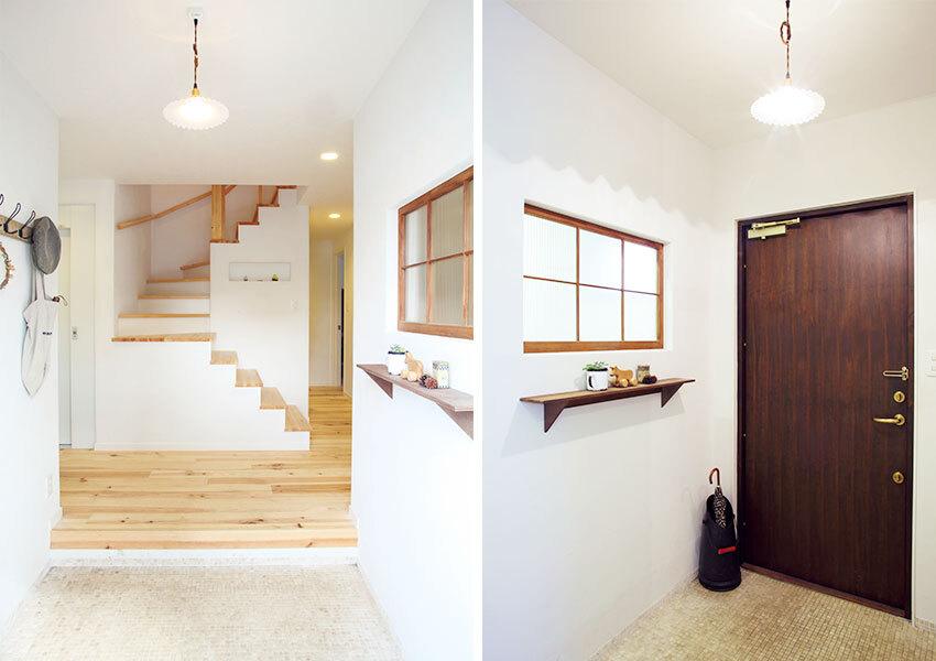正面に階段ホールがある玄関