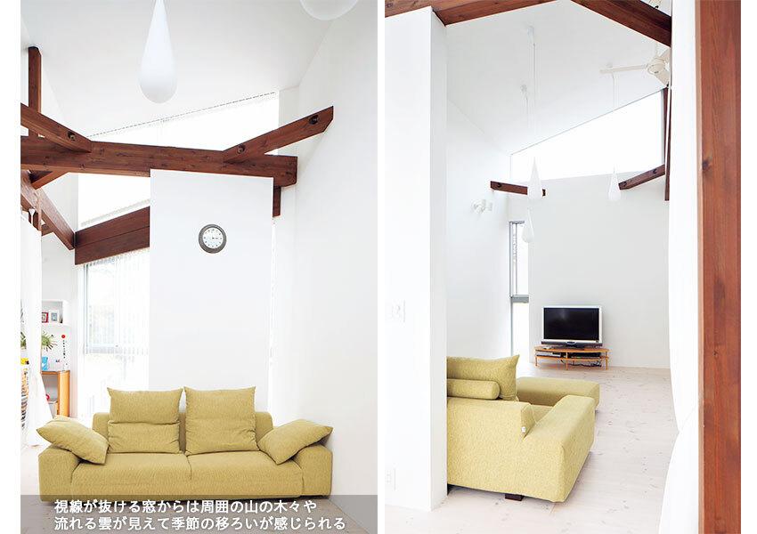 勾配天井になっている2階のリビング