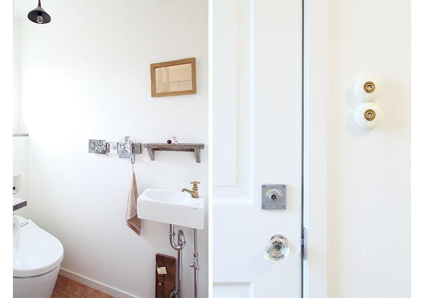 ドアノブや鍵にもこだわりを感じるトイレ