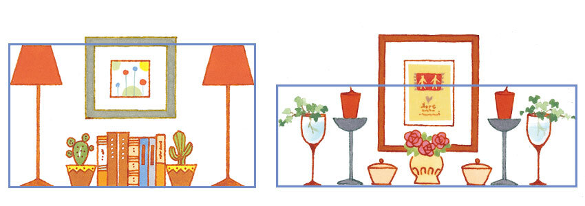 同じアイテムを左右対称に飾るシンメトリの飾り方