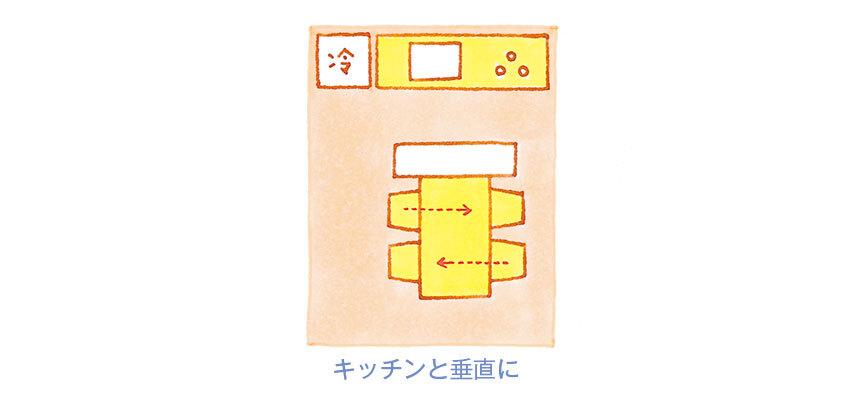 キッチンと仕切るインテリアの配置