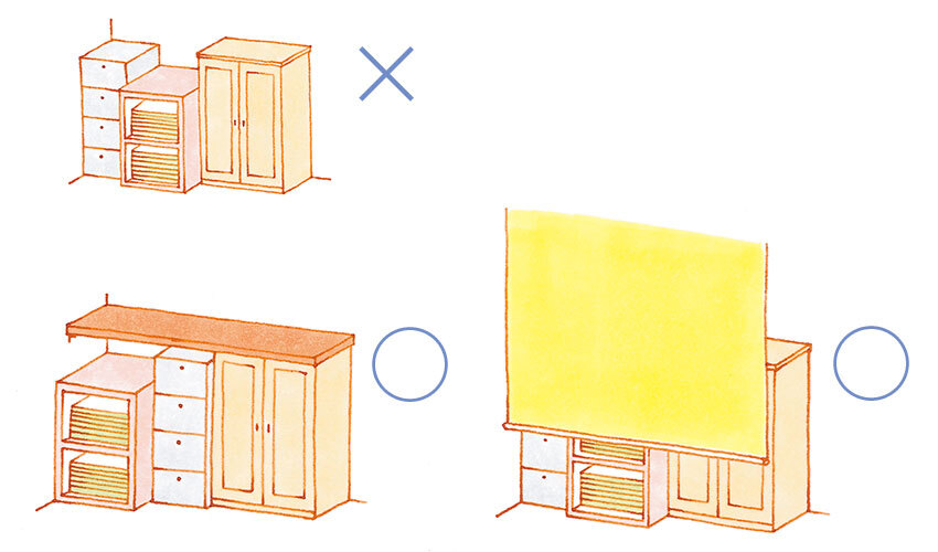 家具の色、高さ、奥行きを揃える