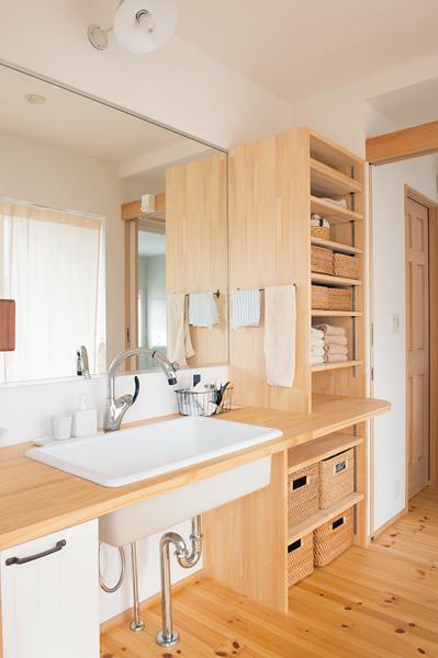 狭小住宅洗面所で役立つ造りつけ収納