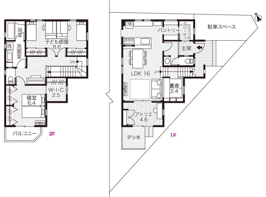 2階建ての家の間取り図