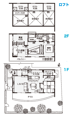 ロフトのある2階建て住居の間取り図