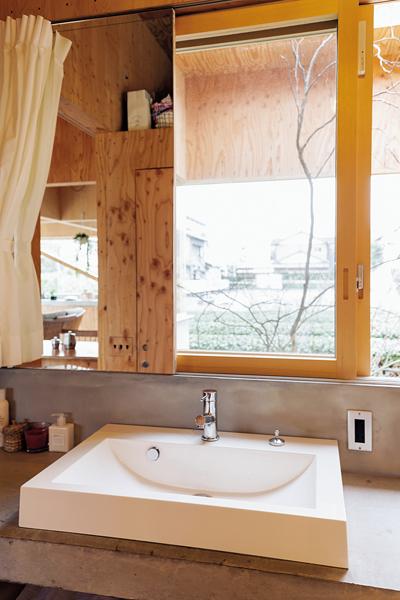 鏡兼可動式の扉付きの洗面台